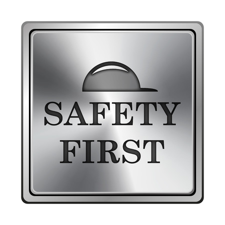 cautionary: Square metallic icon with carved design on grey background