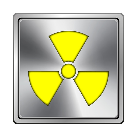 plutonium: Square metallic icon with carved design on grey background