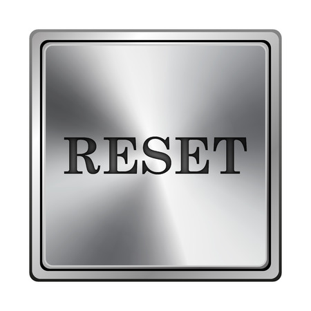 revision: Square metallic icon with carved design on grey background