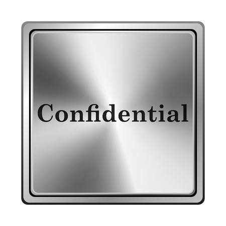 confidentiality: Square metallic icon with carved design on grey background