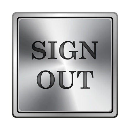 log off: Square metallic icon with carved design on grey background