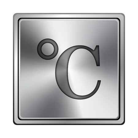 celcius: Square metallic icon with carved design on grey background