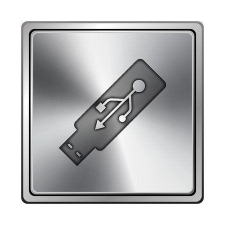 pendrive: Square metallic icon with carved design on grey background