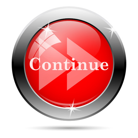 continue: Metallic round glossy icon with white on red background