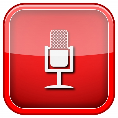podcasting: Square shiny icon with white design on green background