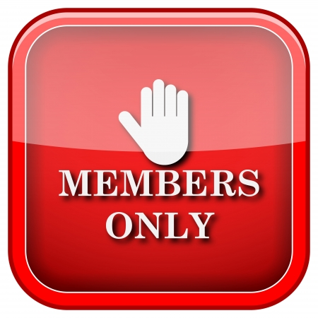 only members: Square shiny icon with white design on green background