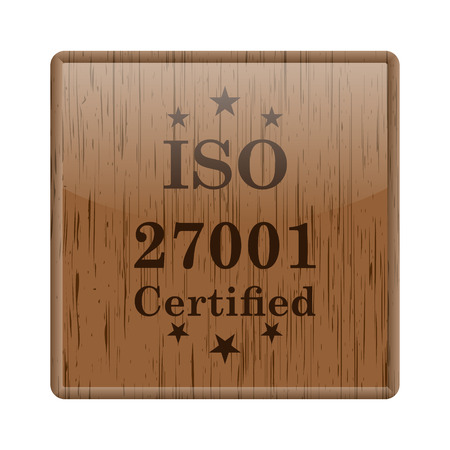Shiny icon with brown design on wooden background Stock Photo