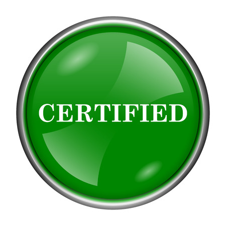 accredit: Round glossy icon with white design on green background