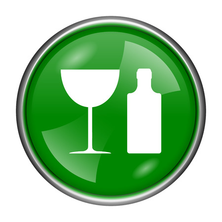 vermouth: Round glossy icon with white design on green background