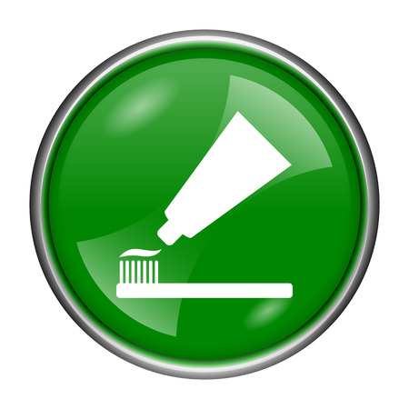 toothbrushing: Round glossy icon with white design on green background