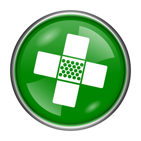 incapacity: Round glossy icon with white design on green background