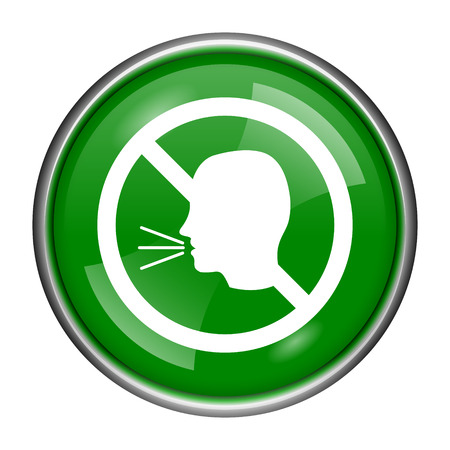 noisily: Round glossy icon with white design on green background