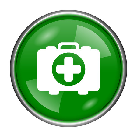 first aid kit key: Round glossy icon with white design on green background