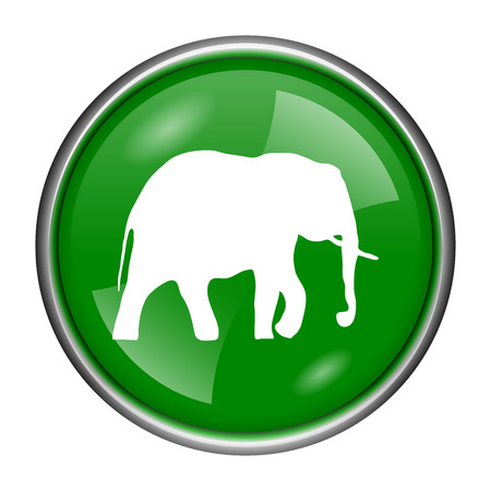endanger: Round glossy icon with white design on green background