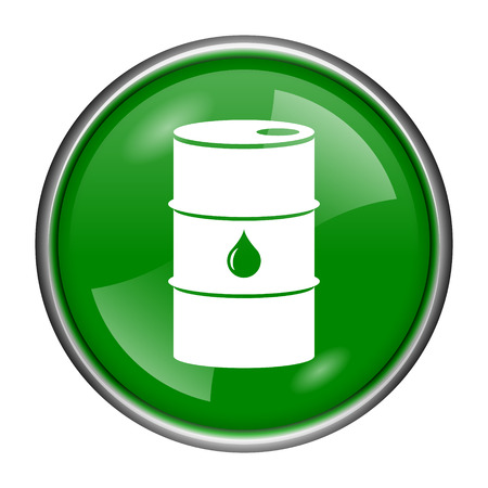 barrell: Round glossy icon with white design on green background