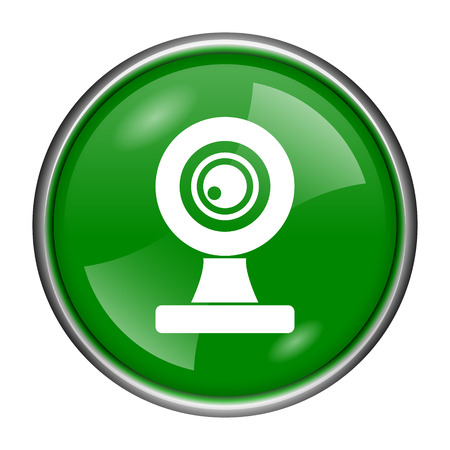 Round glossy icon with white design on green background photo