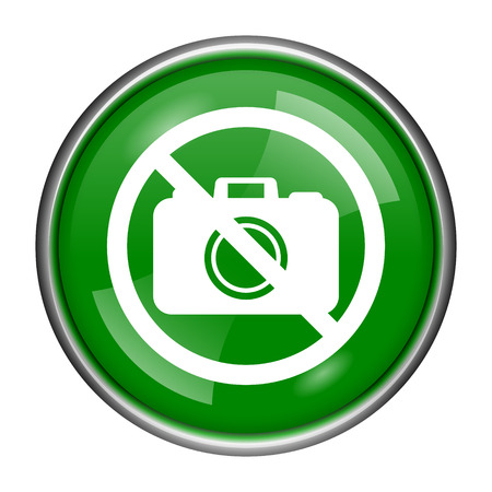 Round glossy icon with white design on green background Stock Photo - 24361786