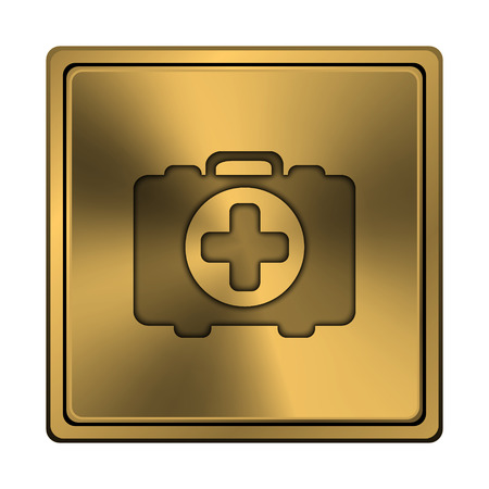 first aid kit key: Square metallic icon with carved design on copper background Stock Photo