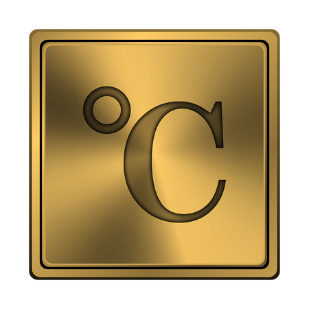 celcius: Square metallic icon with carved design on copper background Stock Photo