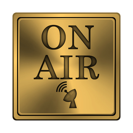 live stream radio: Square metallic icon with carved design on copper background Stock Photo