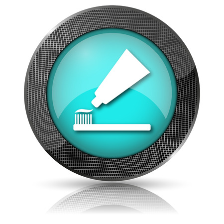 fluoride: Shiny glossy icon with white design on aqua background