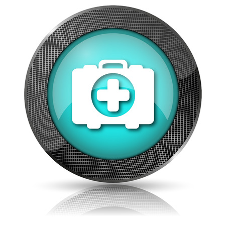 first aid kit key: Shiny glossy icon with white design on aqua background