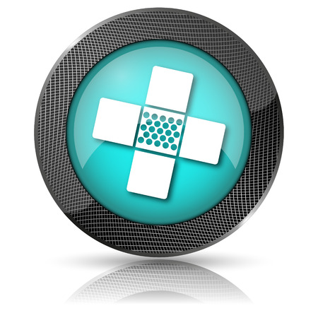 Shiny glossy icon with white design on aqua background photo