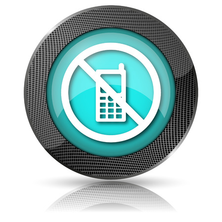 no cell phone sign: Shiny glossy icon with white design on aqua background