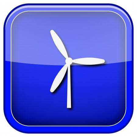 windfarm: Square shiny icon with white design on blue background