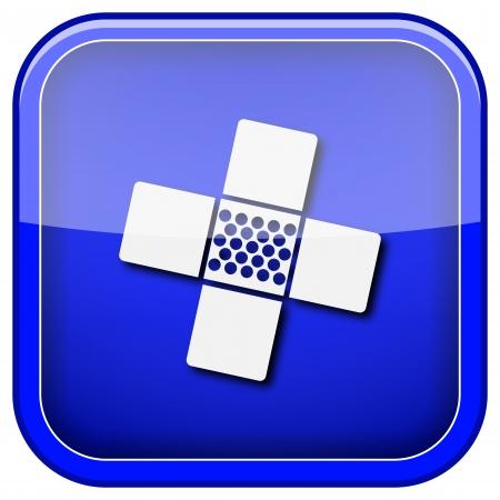incapacity: Square shiny icon with white design on blue background