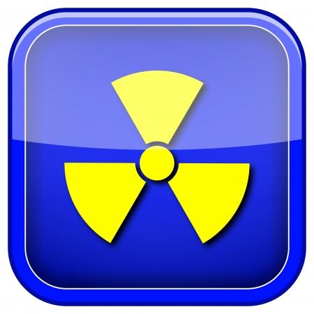 radium: Square shiny icon with yellow design on blue background