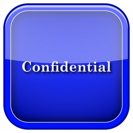 confidentiality: Square shiny icon with white design on blue background