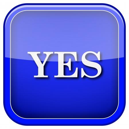yea: Square shiny icon with white design on blue background