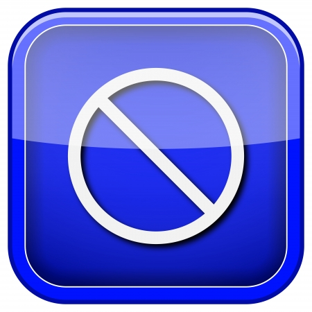abstain: Square shiny icon with white design on blue background