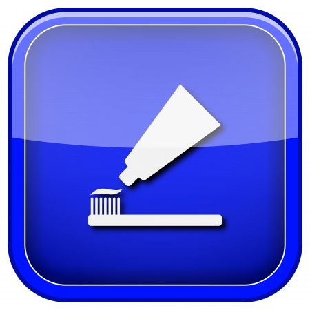 fluoride: Square shiny icon with white design on blue background