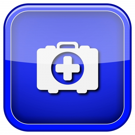 first aid kit key: Square shiny icon with white design on blue background