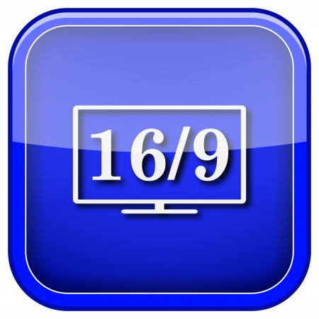 16 9 display: Square shiny icon with white design on blue background