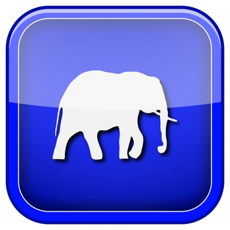 endanger: Square shiny icon with white design on blue background