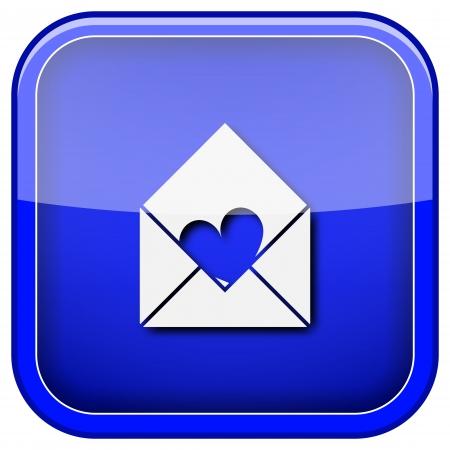 Square shiny icon with white design on blue background photo
