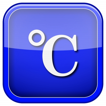 celcius: Square shiny icon with white design on blue background