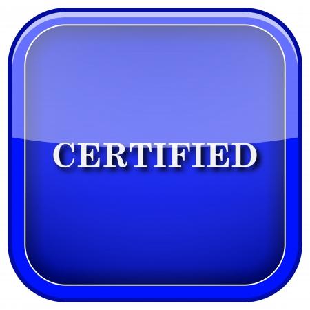 ratificaci�n: Cuadrado del icono brillante con dise�o blanco sobre fondo azul Foto de archivo