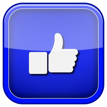 Cuadrado del icono brillante con diseño blanco sobre fondo azul