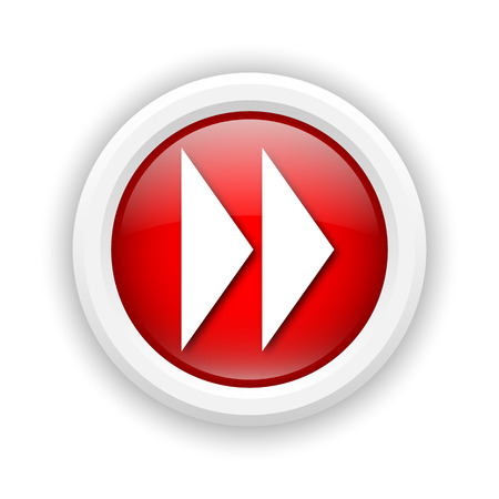 fast forward: Round plastic icon with white design on red background