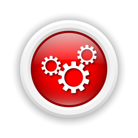 Round plastic icon with white design on red background photo