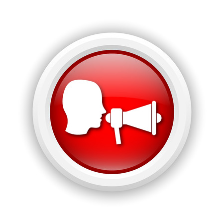 Round plastic icon with white design on red background