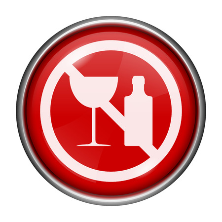 alcohol abuse: Red round glossy icon with white design on red background