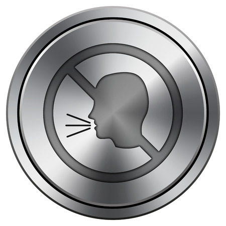 noisily: Metallic icon with carved design on silver background