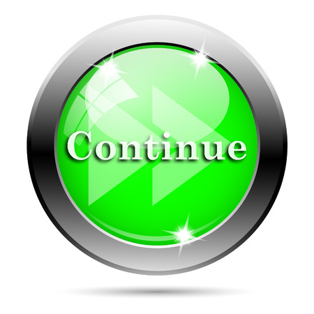 continue: Metallic round glossy icon with white design on green background