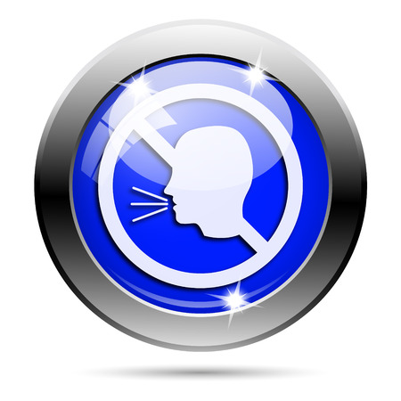 aloud: Metallic round glossy icon with white design on blue background Stock Photo