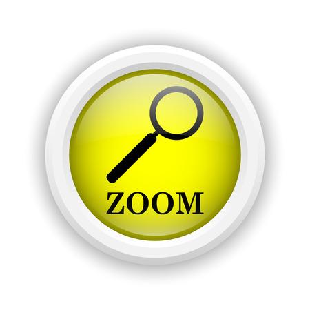 Round plastic icon with black design on yellow background Stock Photo